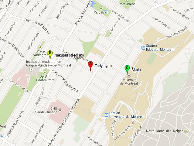 Mapa kde bydlím v Montrealu